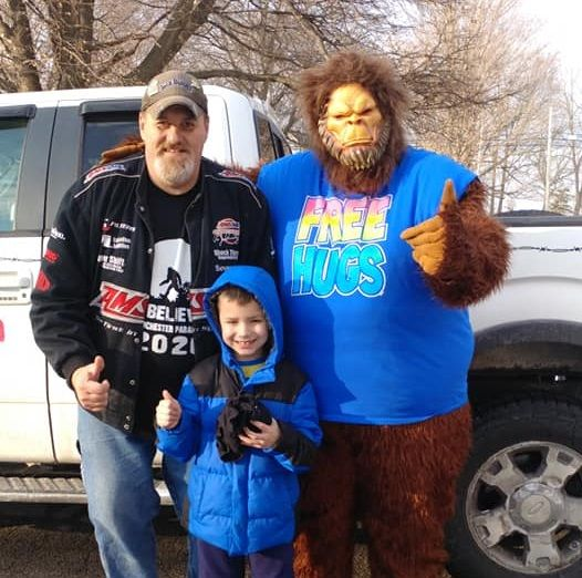 Buddy the Big Foot with Ted Van Son and his Godson Wyatt