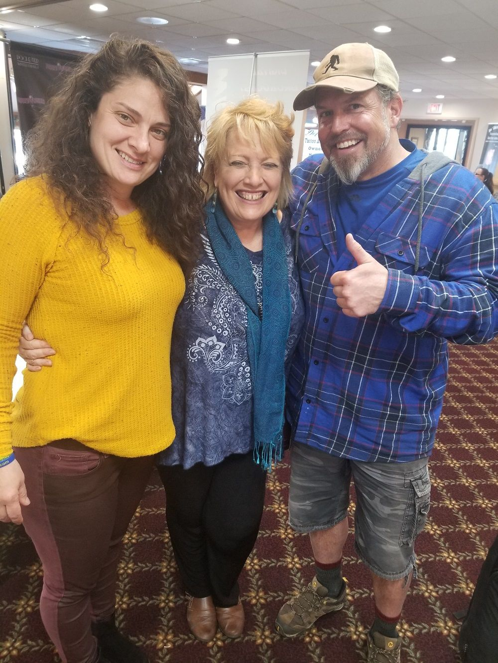 Haunted Journeys' Maria Schmidt celebrating a great weekend with Melanie Rauscher and Trent Nielson from Naked and Afraid!